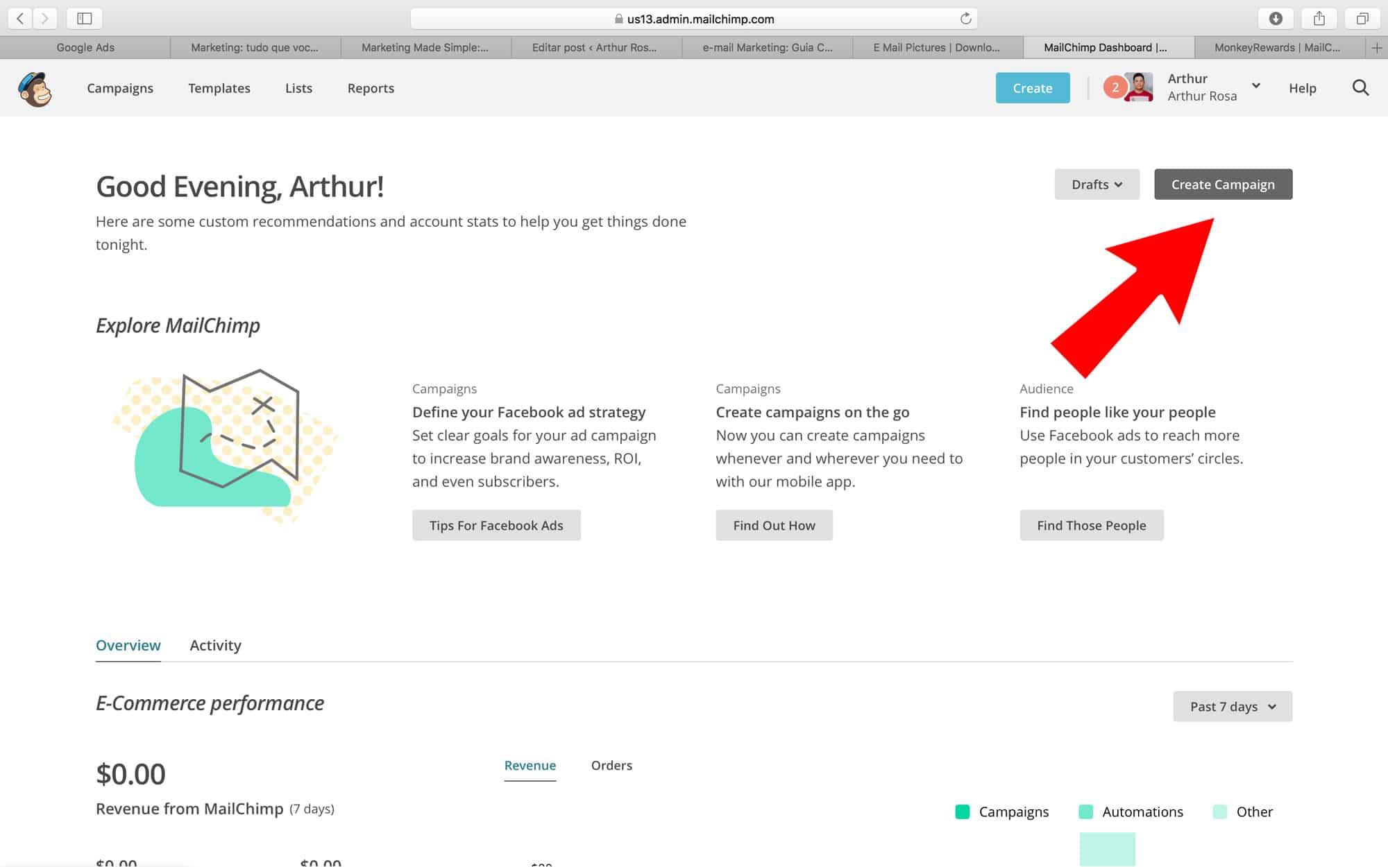 como criar campanha de email no mailchimp