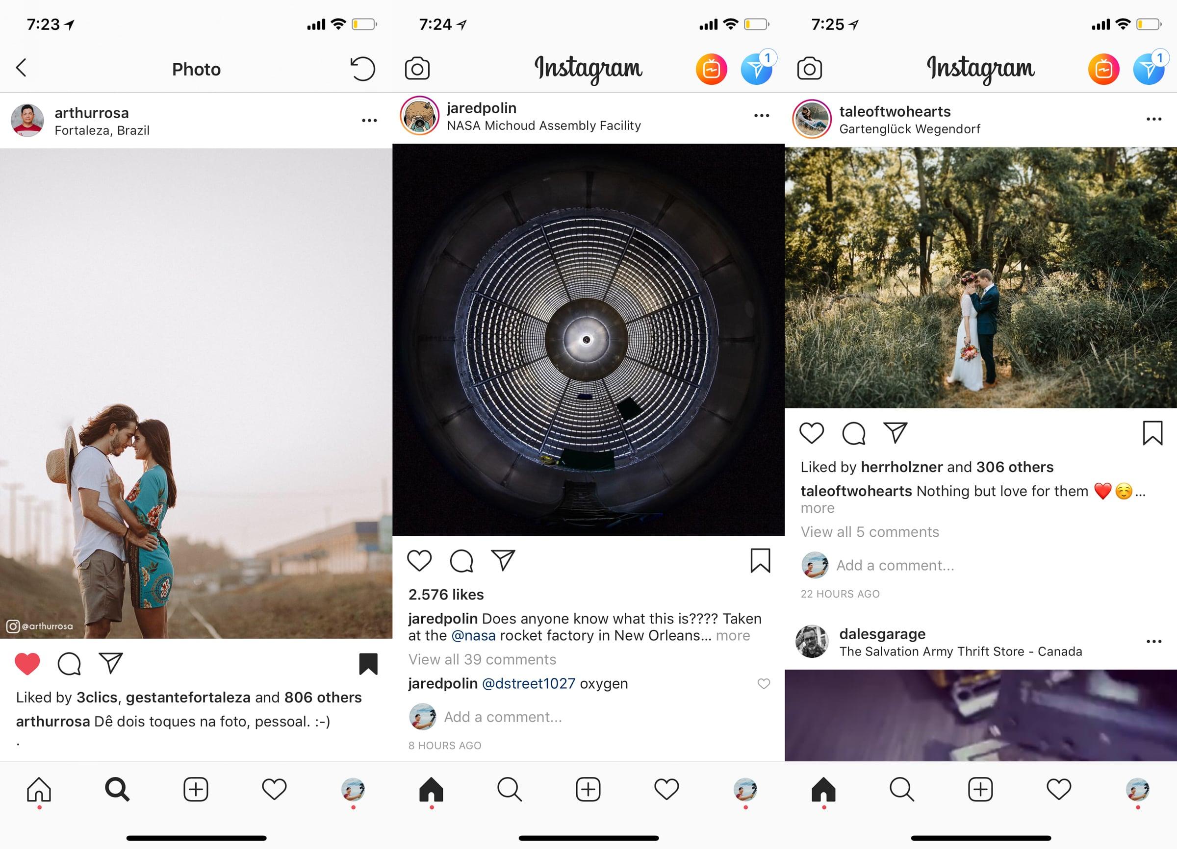 proporção de fotos no instagram